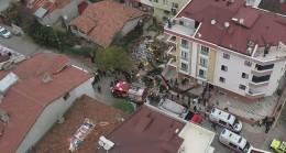 Sancaktepe'de helikopterin düştüğü sokak havadan görüntülendi
