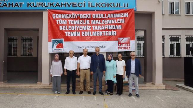 Çekmeköy Belediyesi'nden okullara temizlik malzeme yardımı