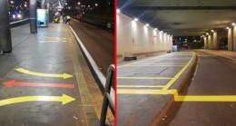 Metro duraklarında bekleme işaretleri