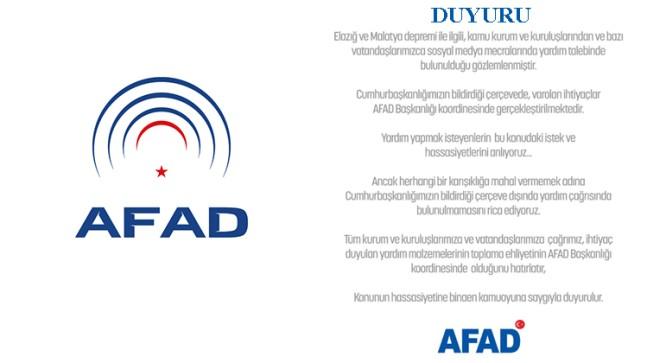 AFAD'tan yardımlarla ilgili açıklama!