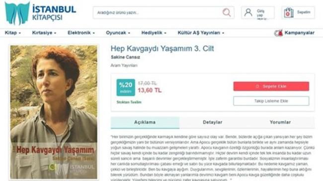 İBB'ye bağlı İstanbul kitapçısı, terörist Sakine Cansız'ın kitabını satıyor!