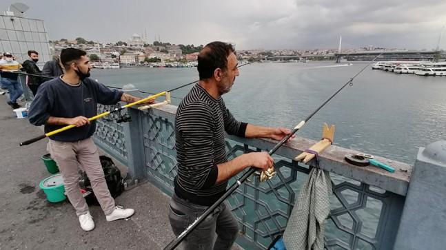 Amatör balıkçılar Galata Köprüsü'ne koştu