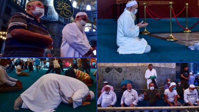 Açılıştan sonra Ayasofya Camii'ne alınan bazı vatandaşlar şükür namazı kıldı