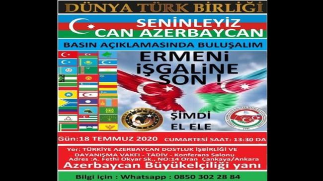 TADİV, Ermenistan'ın Azerbaycan'a yaptığı hain saldırıyı şiddetle kınıyor!