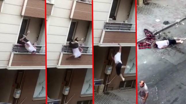 Kavga ettiği adama balkondan tencere atarken sokağa çakıldı