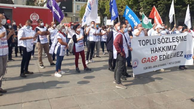 Bakırköy Belediye çalışanları, başkan Bülent Kerimoğlu'nu protesto etti
