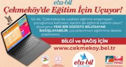 Çekmeköy'de uzaktan eğitim sistemine katılamayan öğrencilere dizüstü bilgisayar kampanyası
