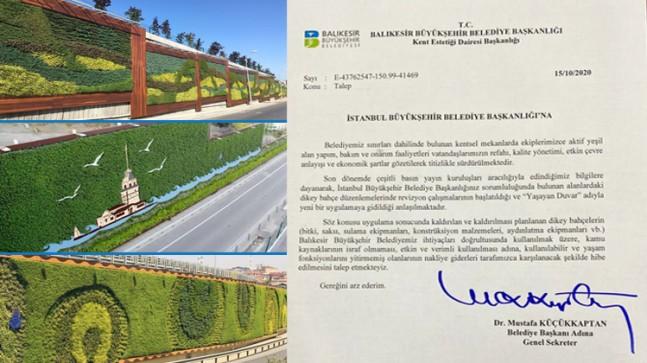 Balıkesir Büyükşehir Belediyesi, İBB'den dikey bahçeleri talep etti