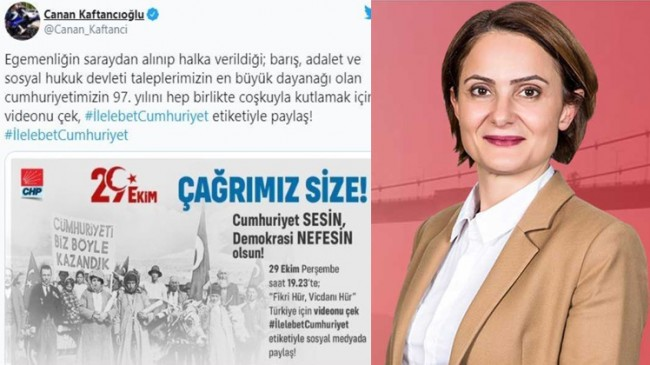 CHP'yi takmayan Canan Kaftancıoğlu'ndan Atatürk'süz Cumhuriyet Bayramı paylaşımı