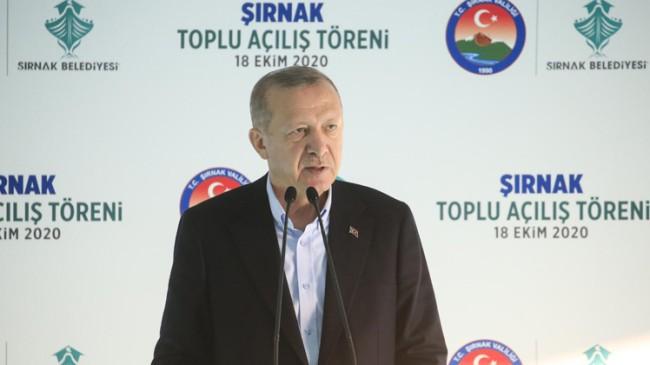 """Erdoğan """"Rengini ecdadımızın kanından alan tek bayrak ile geleceğe yürüyeceğiz"""""""
