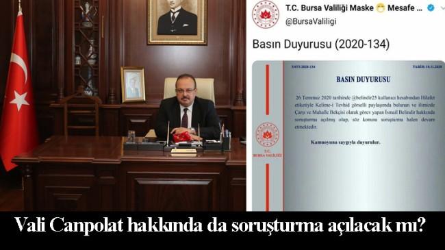 Bursa Valisi Yakup Canbolat, 28 Şubat kalıntısı mı?