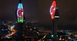 Türkiye ve Azerbaycan Bayrakları, İstanbul'un yüzlerce metre yüksekliğinde parladı