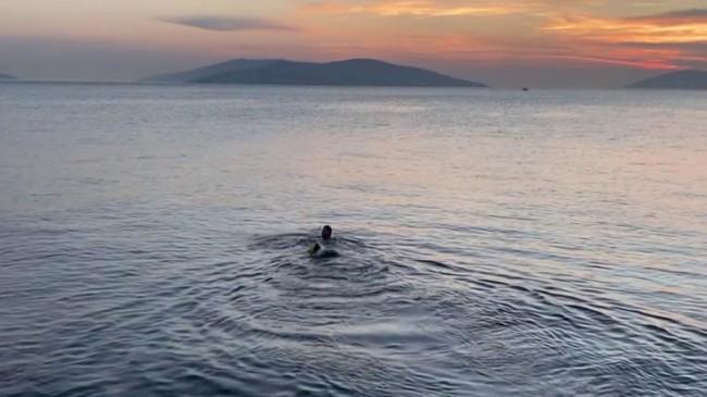 Günbatımına karşı denizde yüzdü