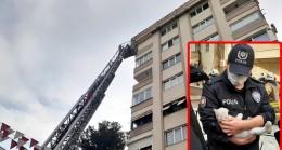 Polis, yavru kediyi yangından kurtardı