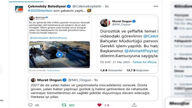 Çekmeköy Belediyesi, İBB Sözcüsü Murat Ongun'un paylaşımını tiye aldı