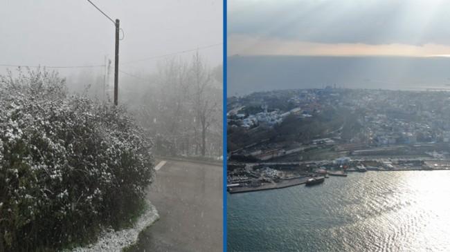 İstanbul'un Anadolu Yakası karlı, Avrupa Yakası ise güneşli