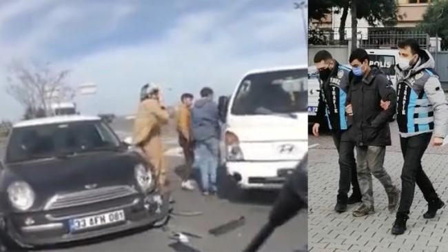 Kamyonetle kadın şoförün üzerine kıran maganda yakalandı
