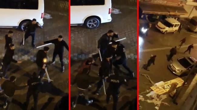 Bir grup sokak magandası sopalarla polise saldırdı