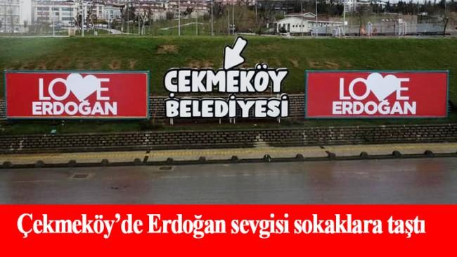 """Çekmeköy'de her yer; """"Love Erdoğan"""""""