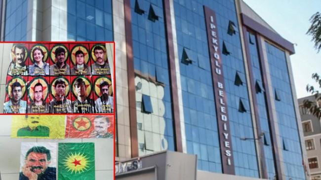 HDP'li belediye binasında bebek katili Apo posterleri ile PKK paçavraları