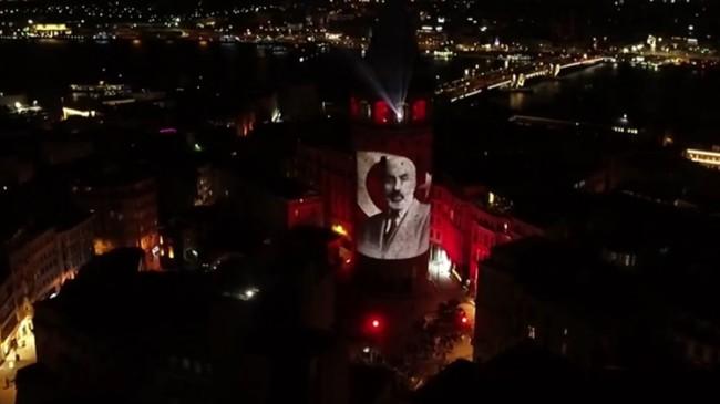 İstiklal Marşı'nın 100. yılına özel Galata Kulesi'nde mapping gösterisi