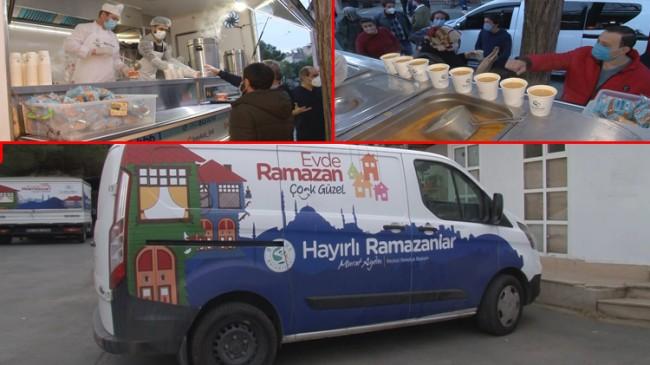 Beykoz Belediyesi'nden iftar saatine yakın yemek dağıtımı