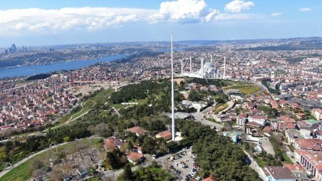 Çamlıca Tepesi'nde 111 metre boyundaki direğe 23 Nisan'da Türk bayrağı çekilecek