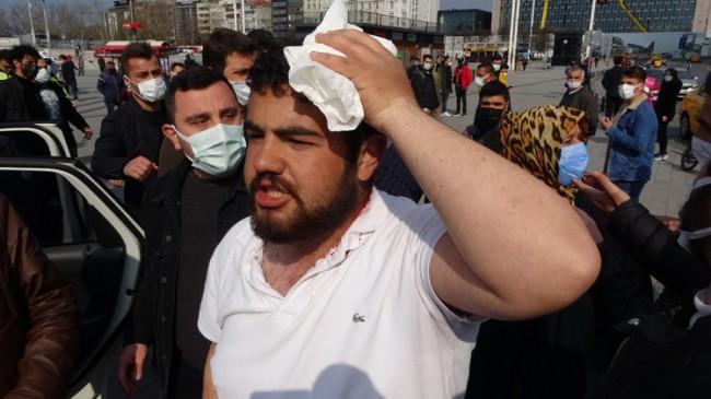 İBB zabıtaları telsizlerle, seyyar satıcının kafasına kafasına vurdular!