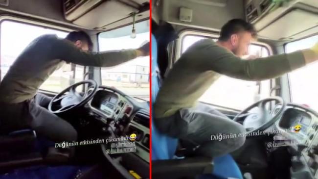 Kazaya davetiye çıkaran maganda tır şoförü direksiyonda oynuyor