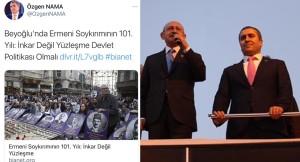 Özgen Nama 'sözde Ermeni soykırım' paylaşımını korkudan sildi!