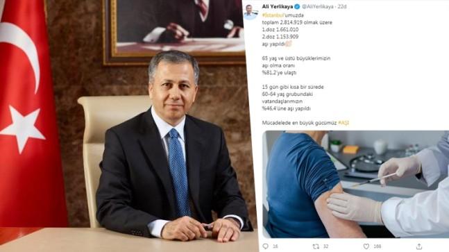 Vali Yerlikaya, İstanbul'da yapılan Covid-19 aşısı rakamlarını açıkladı