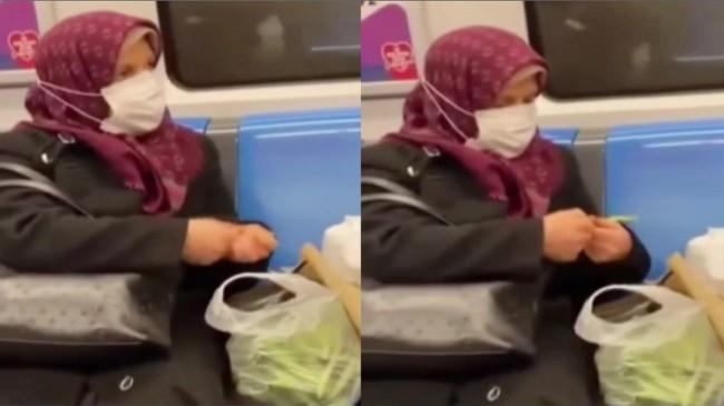 Taze fasulyeyi metro da ayıkladı