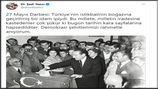Başkan Yazıcı'dan 27 Mayıs mesajı