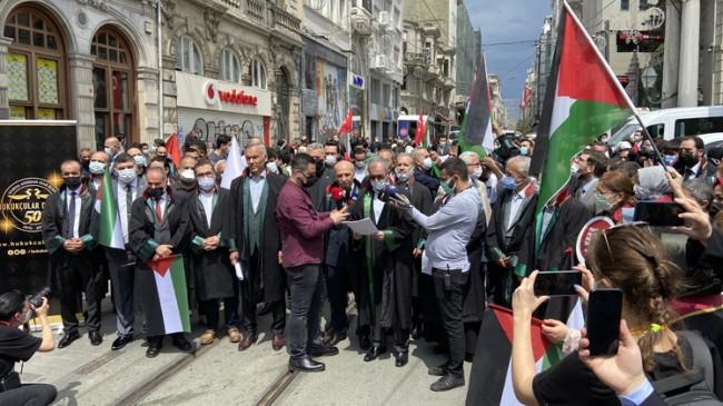 İstanbul 2 Nolu Barosu ve Hukukçular Derneği, katil İsrail'in Filistin'deki zulmünü protesto etti