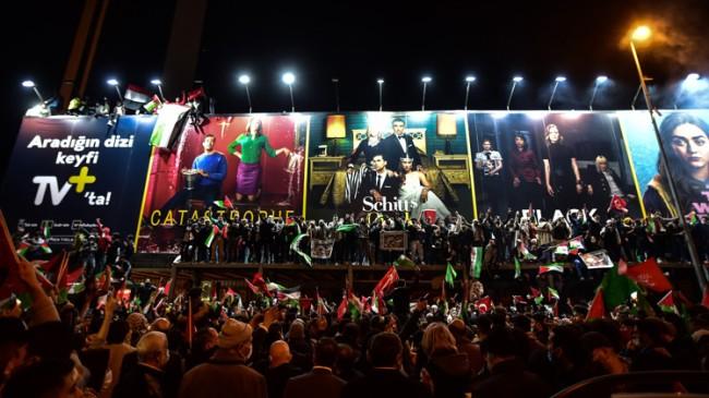 İstanbul'da İsrail Konsolosluğu önünde Mescid-i Aksa ve Gazze eylemi