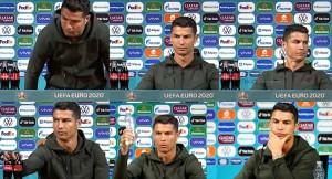 Ronaldo coco-cola şişelerini iterek, 'su için' dedi!