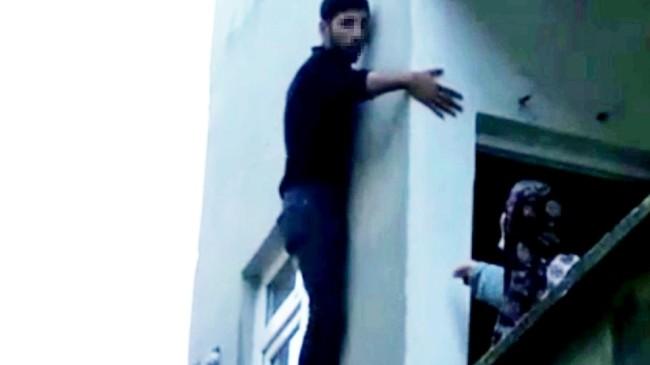 Hırsız, binanın dış cephesinde önce mahsur kaldı, sonra…