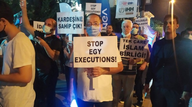 AGD üyeleri, Mısır Başkonsolosluğu önünde idam karşıtı protestoda bulundular