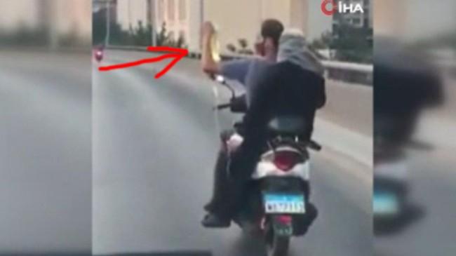 Lübnan'da serum takılı hasta kadın motosikletle seyahat etti