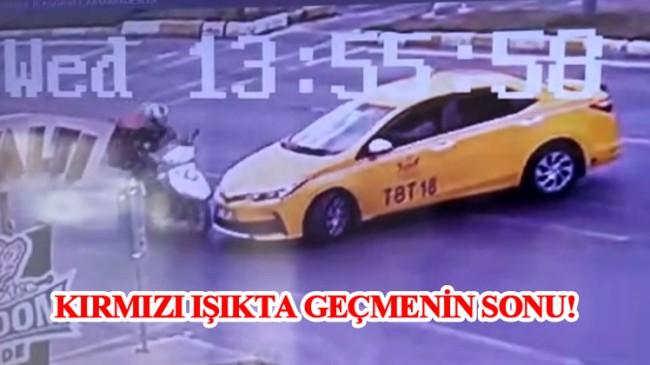 Olayların ilçesi Küçükçekmece'de kırmızı ışıkta geçen taksi motosiklete çarptı