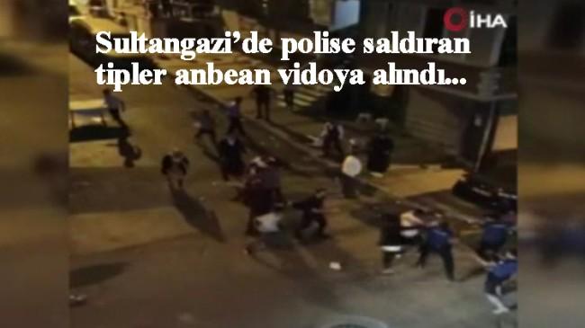 Polisleri aralarına alıp saldırdılar