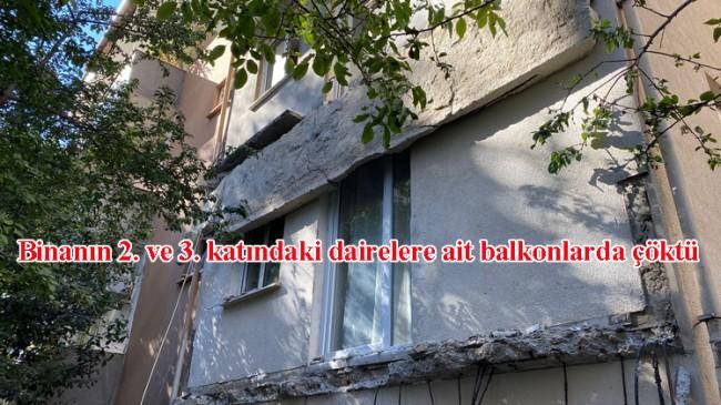 Kadıköy'de binanın balkonları çöktü