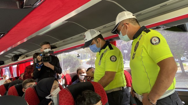 Otogarda aşı ve PRC testi denetimi