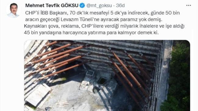 AK Parti Grup Başkanvekili Mehmet Tevfik Göksu'dan İBB Başkanı İmamoğlu'na tepki