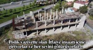 Çekmeköy'de ki İtfaiye İstasyonu inşaatı bölgedeki tinercilerin yuvası oldu